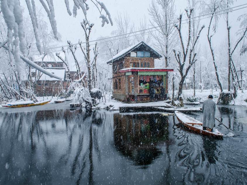A Kashmiri man rows his boat towards a shop in the backwaters of Dal Lake Srinagar.